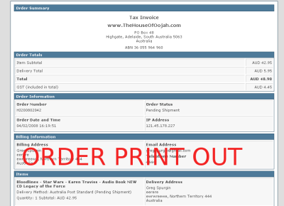 printout order summary audiobooks